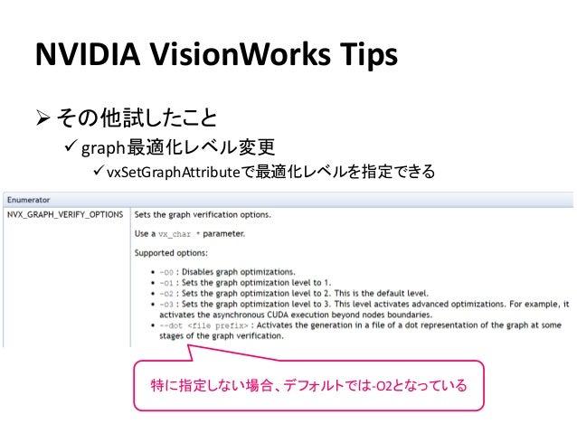 NVIDIA VisionWorks Tips ➢ その他試したこと ✓ graph最適化レベル変更 ✓vxSetGraphAttributeで最適化レベルを指定できる 特に指定しない場合、デフォルトでは-O2となっている