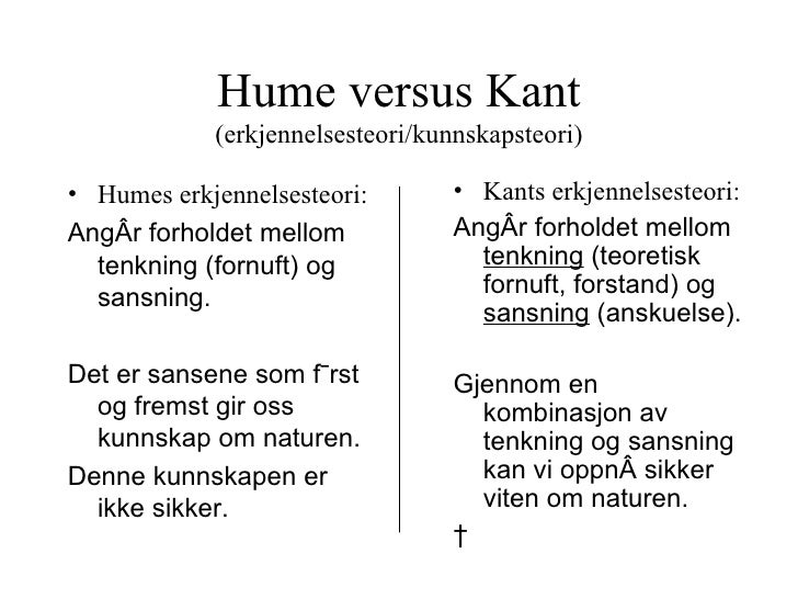"hume versus kant Locke vs hume: who is the better concept-empiricist and, finally, kant says ""pure intuition and thought on occasion of the sense-impressions."