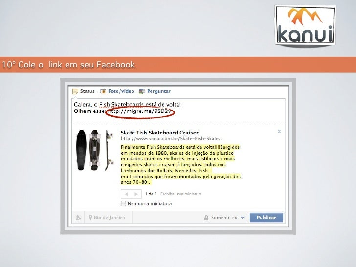 15498bbdf5 Kanui - Como publicar no facebook