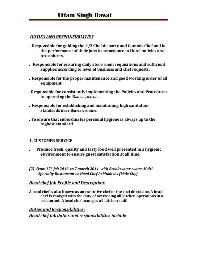 Duties Of A Chef | Resume CV Cover Letter