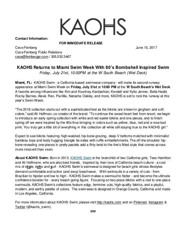 d0481c6a69 Kaohs swim week press release 2017