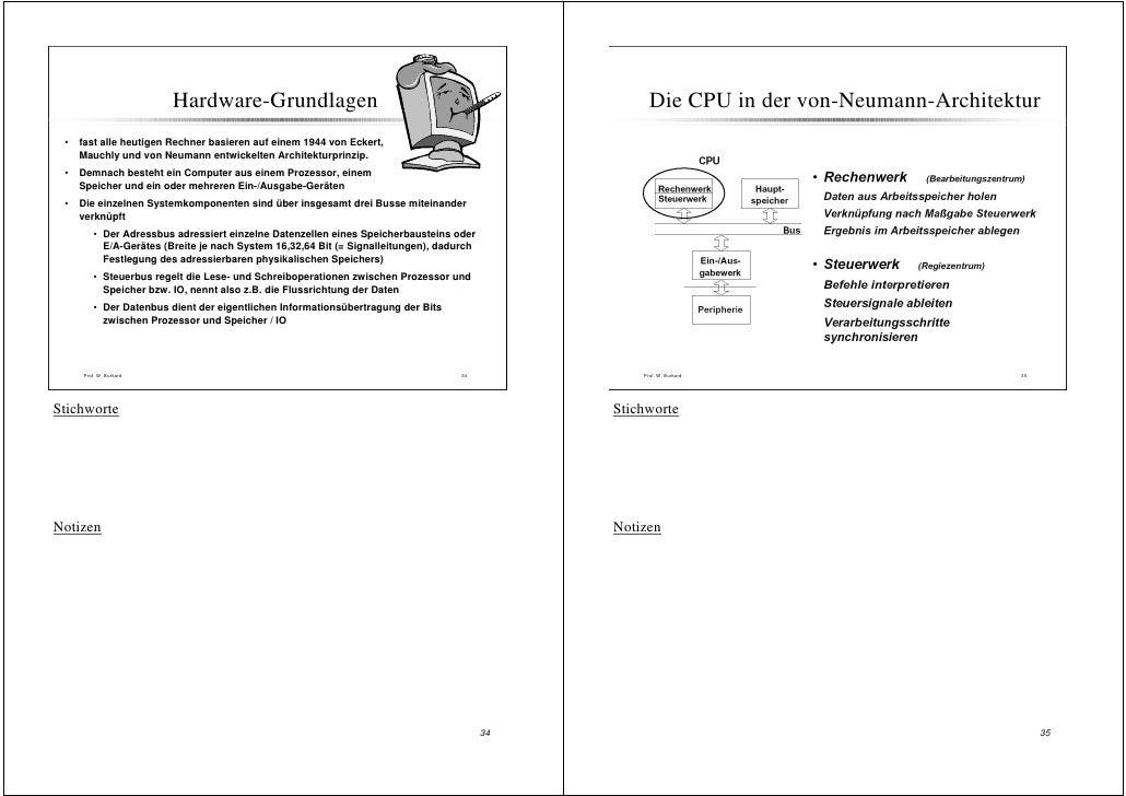 Hardware-Grundlagen                                                         Die CPU in der von-Neumann-Architektur  •   fa...