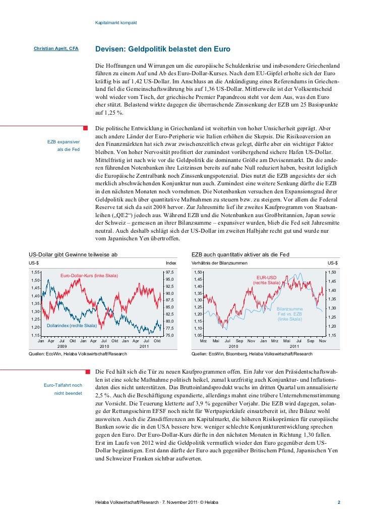 Kapitalmarkt kompakt  Christian Apelt, CFA            Devisen: Geldpolitik belastet den Euro                              ...