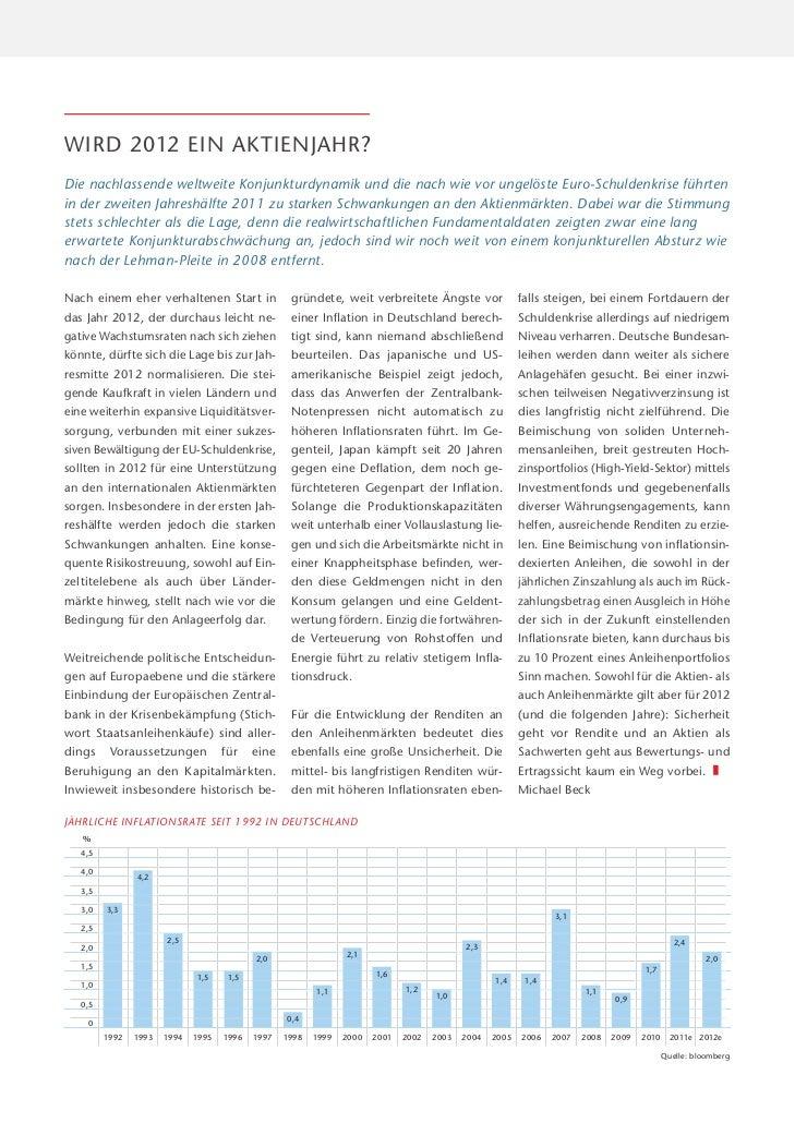 WIRD 2012 EIN AKTIENJAHR?Die nachlassende weltweite Konjunkturdynamik und die nach wie vor ungelöste Euro-Schuldenkrise fü...