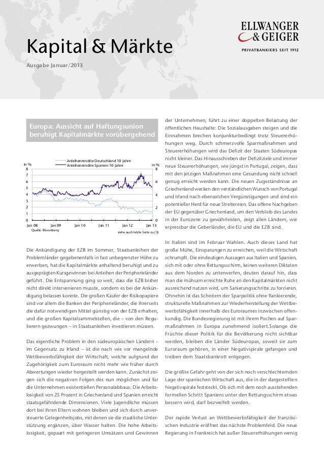Kapital&Märkte Ausgabe Januar/2013  der Unternehmen, führt zu einer doppelten Belastung der  Europa: Aussicht auf Haftun...