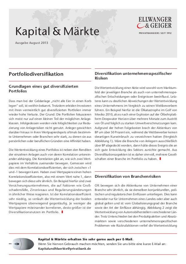 """MF 1 Portfoliodiversifikation Grundlagen eines gut diversifizierten Portfolios Dass man bei der Geldanlage """"nicht alle Ei..."""
