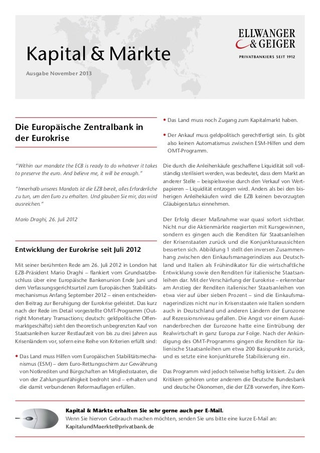 "MF 1  Kapital & Märkte Ausgabe November 2013  Die Europäische Zentralbank in der Eurokrise ""Within our mandate the ECB is ..."
