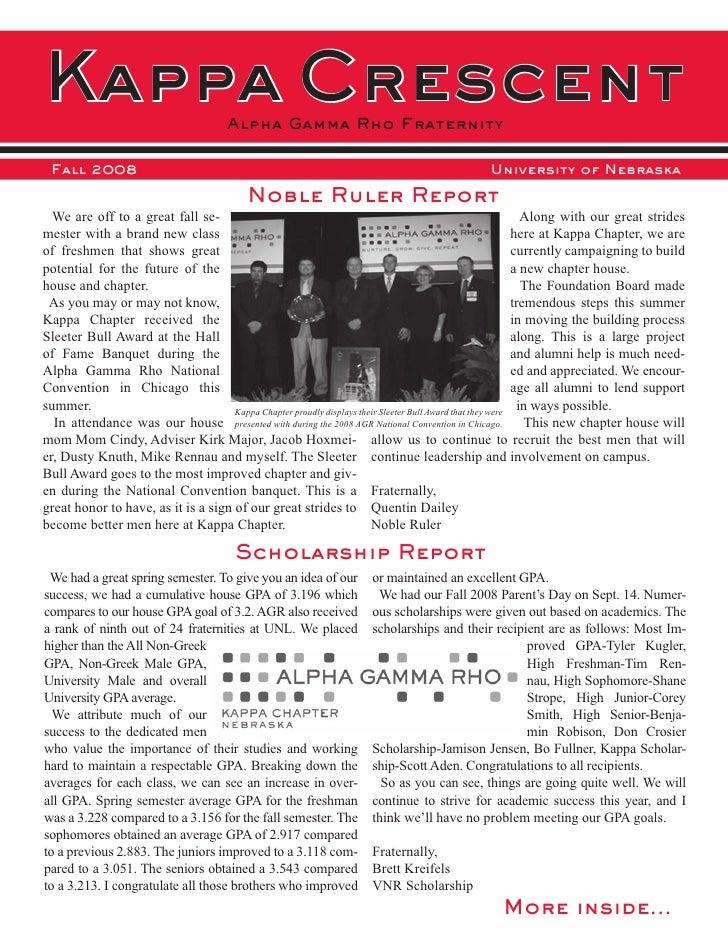 Kappa Crescent                         Alpha Gamma Rho Fraternity   Fall 2008                                             ...