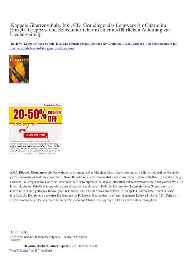 Käppels Gitarrenschule. Inkl. CD: Grundlegendes Lehrwerk für Gitarre imEinzel-, Gruppen- und Selbstunterricht mit einer au...