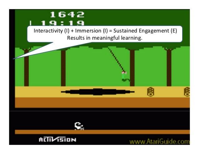 Interactivity(I)+Immersion(I)=SustainedEngagement(E)                Resultsinmeaningfullearning.