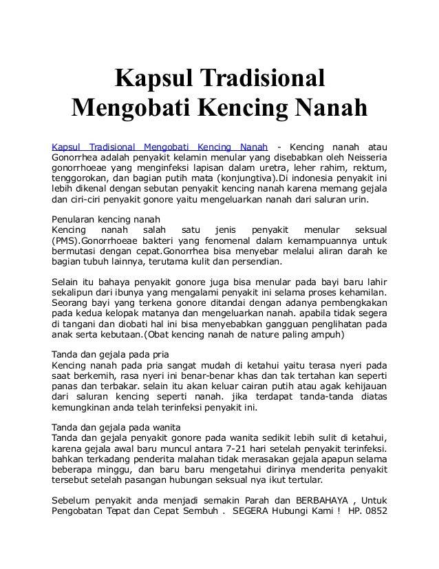 Kapsul Tradisional Mengobati Kencing Nanah Kapsul Tradisional Mengobati Kencing Nanah - Kencing nanah atau Gonorrhea adala...