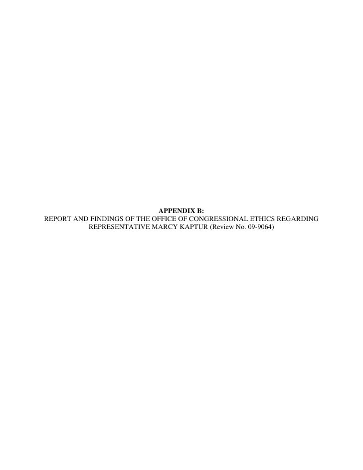 APPENDIX B: REPORT AND FINDINGS OF THE OFFICE OF CONGRESSIONAL ETHICS REGARDING           REPRESENTATIVE MARCY KAPTUR (Rev...