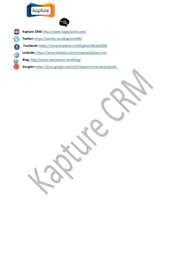 Kapture CRM: http://www.kapturecrm.com/ Twitter: https://twitter.com/KaptureCRM Facebook: https://www.facebook.com/Kapture...