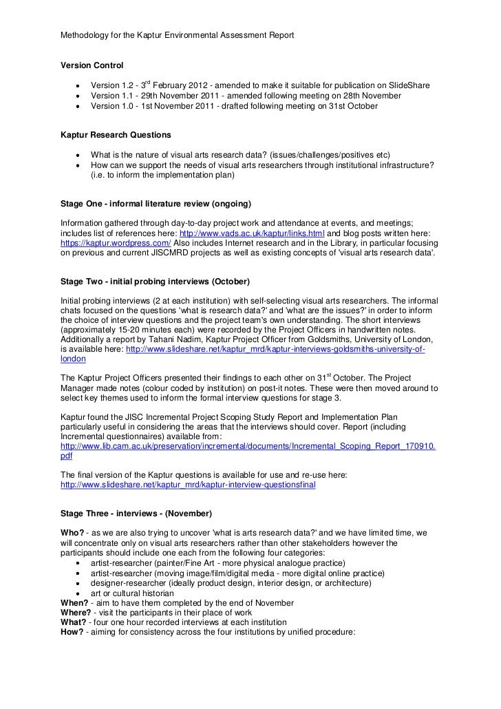 Methodology for the Kaptur Environmental Assessment ReportVersion Control                        rd        Version 1.2 - 3...