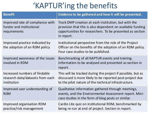 'KAPTUR'ing the benefitsBenefit                            Evidence to be gathered and how it will be presented.Improved r...