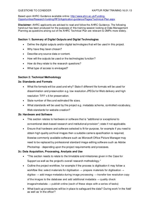 QUESTIONS TO CONSIDER                                             KAPTUR RDM TRAINING 16.01.13Based upon AHRC Guidance ava...