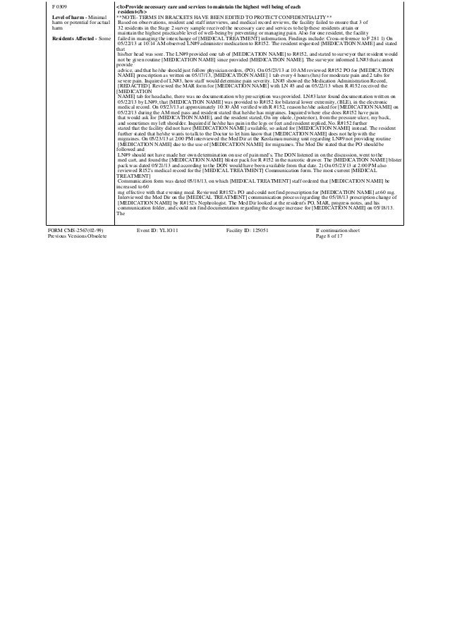 Nursing Home Inspection Form
