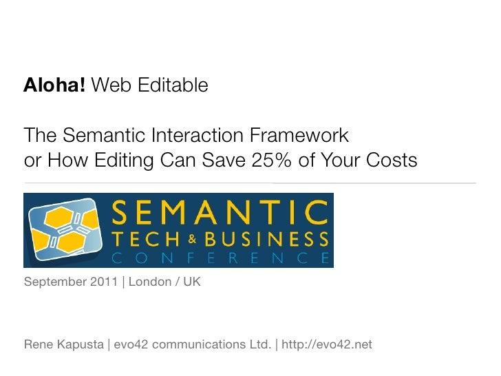 Aloha! Web EditableThe Semantic Interaction Frameworkor How Editing Can Save 25% of Your CostsSeptember 2011 | London / UK...