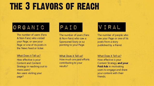 the 3 flavors of reachOrganic                        paid                        viral The number of users (Fans     The n...