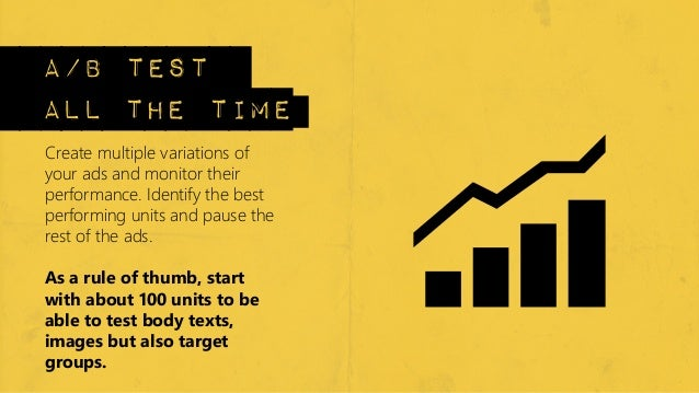 a/b testall the timeCreate multiple variations ofyour ads and monitor theirperformance. Identify the bestperforming units ...