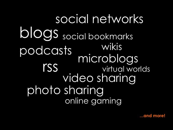 blogs social networks social bookmarks microblogs rss podcasts virtual worlds video sharing photo sharing wikis ...and mor...