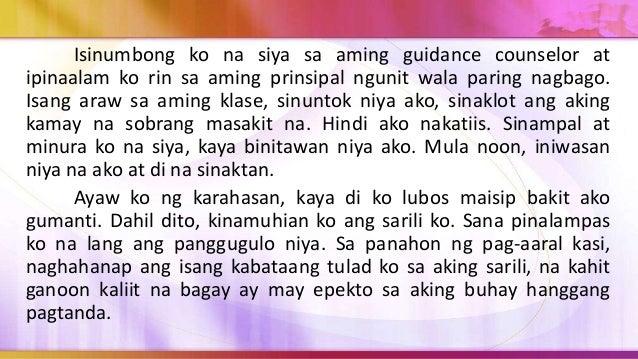3. Ano ang pangunahing paksa ng sanaysay? a. Ang pagtuntong ng hayskul b. Ang kasamaan ng ugali ng isang nambubulas c. Ang...