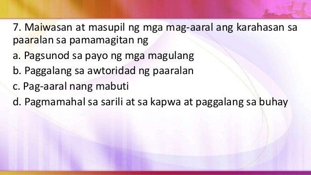 8. Kailangan sa pagmamahal ang paggalang sa sarili sapagkat a. Nakatutulong ito sa pagbuo ng malusog at mapanagutang panan...