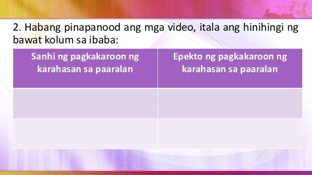 3. Matapos magawa ang mga ito ay sagutin ang sumusunod na tanong: a. Mayroon ka bang katulad na karanasan sa paaralan o di...