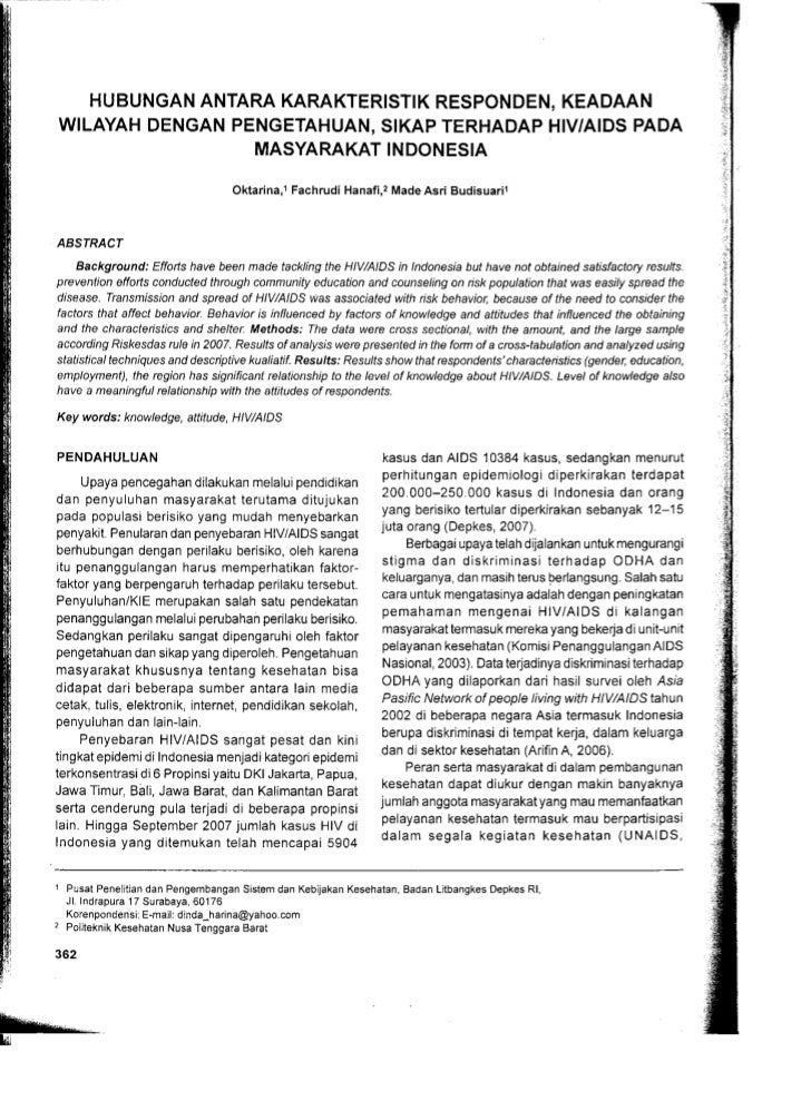 Karakteristik Responden Terhadap HIV dan AIDS