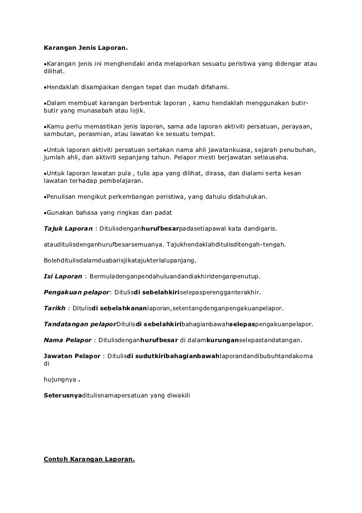 Contoh Karangan Laporan Bahasa Melayu Tingkatan 2 Dawn Hullender