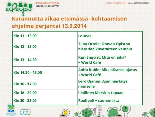Karannutta aikaa etsimässä -kohtaamisen ohjelma perjantai 13.6.2014 Klo 11 - 12.00 Lounas Klo 12 - 13.00 Tiina Ottela: Ota...
