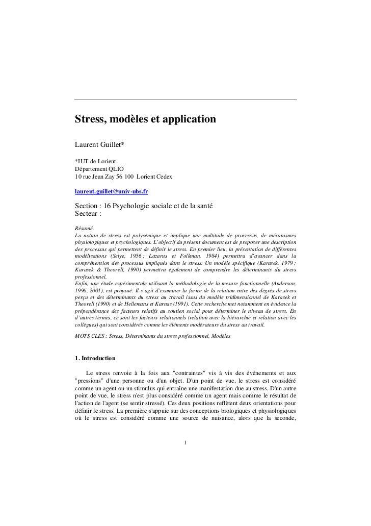 Stress, modèles et applicationLaurent Guillet**IUT de LorientDépartement QLIO10 rue Jean Zay 56 100 Lorient Cedexlaurent.g...