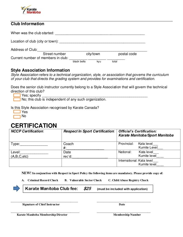 Club/Instructor Application Form: Karate Manitoba 2012-2013