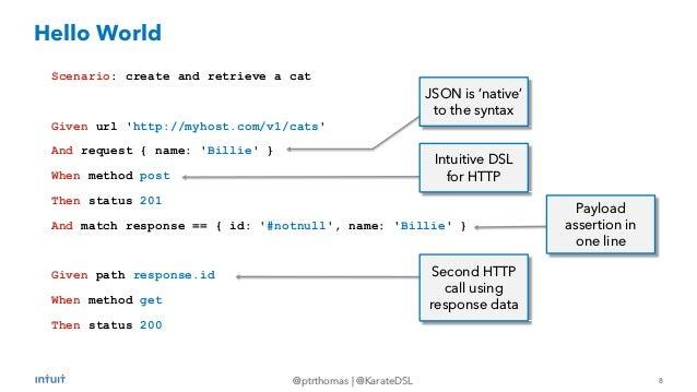 8 @ptrthomas   @KarateDSL Scenario: create and retrieve a cat Given url 'http://myhost.com/v1/cats' And request { name: 'B...