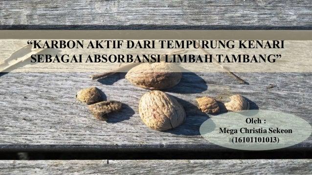 """""""KARBON AKTIF DARI TEMPURUNG KENARI SEBAGAI ABSORBANSI LIMBAH TAMBANG"""" Oleh : Mega Christia Sekeon (16101101013)"""