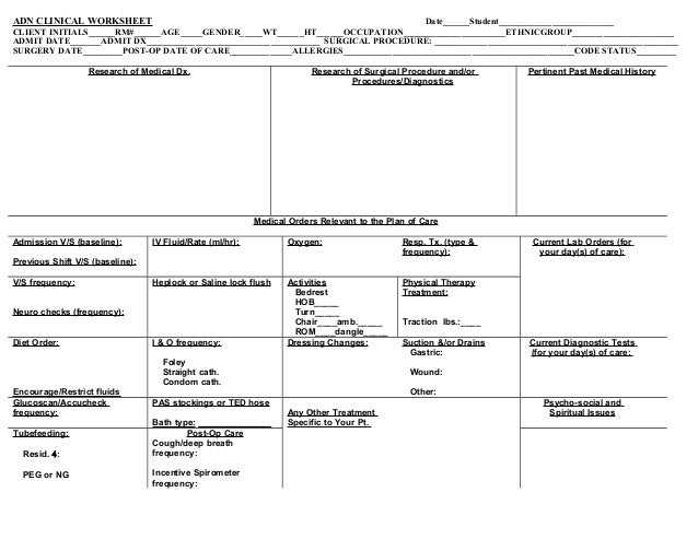 Kardex Form For Patient Assignments