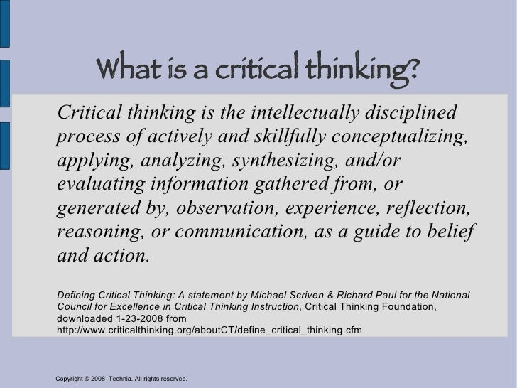 Developing a critical thinking framework