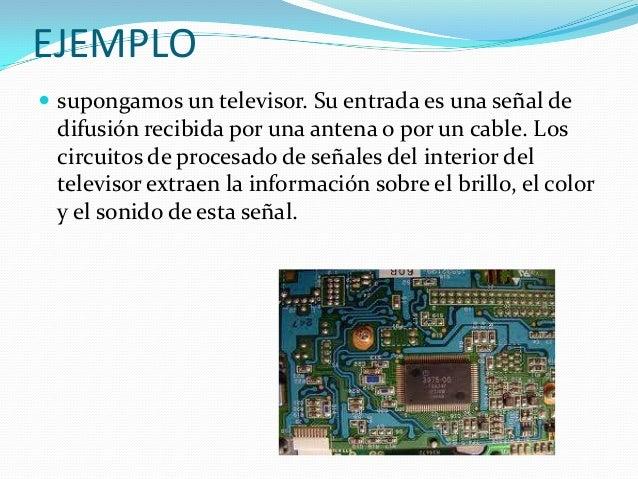 EJEMPLO  supongamos un televisor. Su entrada es una señal de difusión recibida por una antena o por un cable. Los circuit...