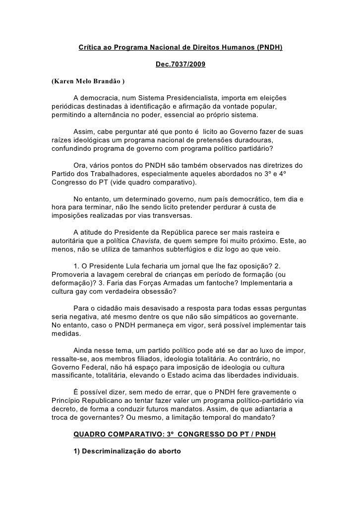 Crítica ao Programa Nacional de Direitos Humanos (PNDH)                                  Dec.7037/2009  (Karen Melo Brandã...