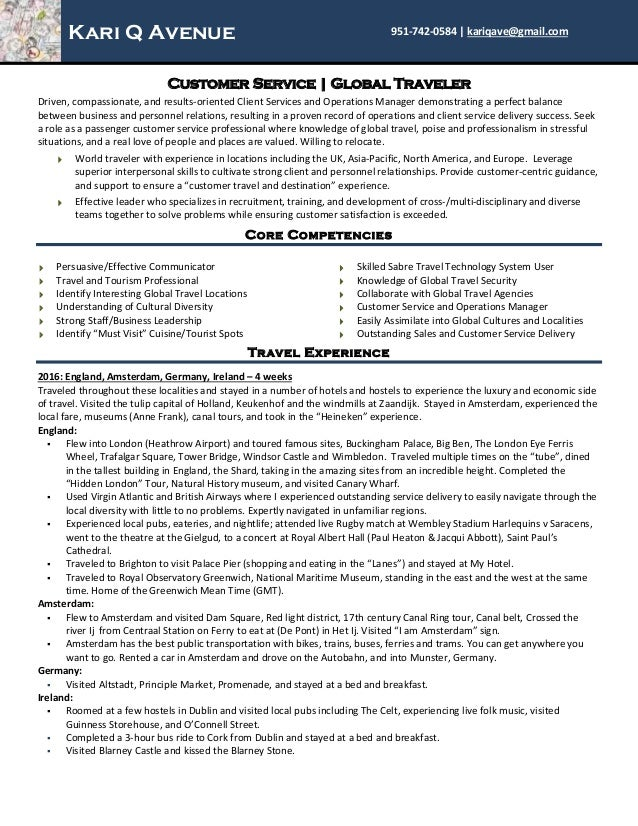 Customer Service Travel Tour Guide Resume For Kari Q Avenue