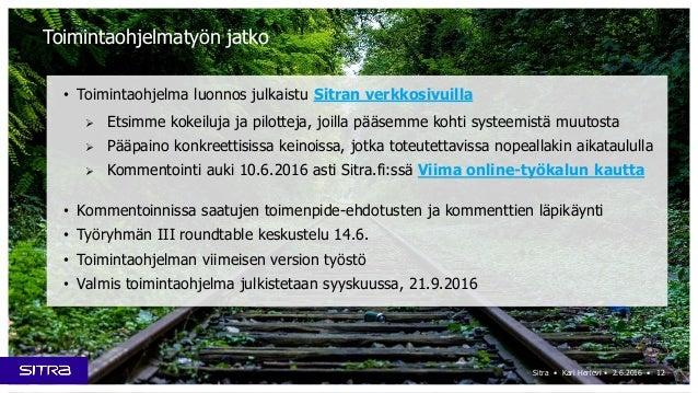 Sitra • Kari Herlevi • 2.6.2016 • Toimintaohjelmatyön jatko • Toimintaohjelma luonnos julkaistu Sitran verkkosivuilla  Et...