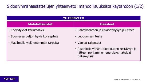 YHTEENVETO Sitra • Kari Herlevi • 2.6.2016 • Sidosryhmähaastattelujen yhteenveto: mahdollisuuksista käytäntöön (1/2) Mahdo...