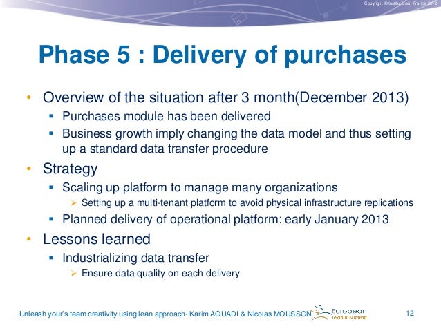 Copyright © Institut Lean France 2012  Phase 5 : Delivery of purchases • Overview of the situation after 3 month(December ...