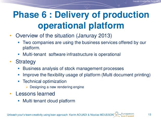 Copyright © Institut Lean France 2012  Phase 6 : Delivery of production operational platform • Overview of the situation (...