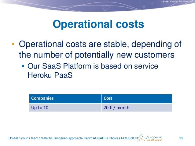 Copyright © Institut Lean France 2012  Operational costs • Operational costs are stable, depending of the number of potent...