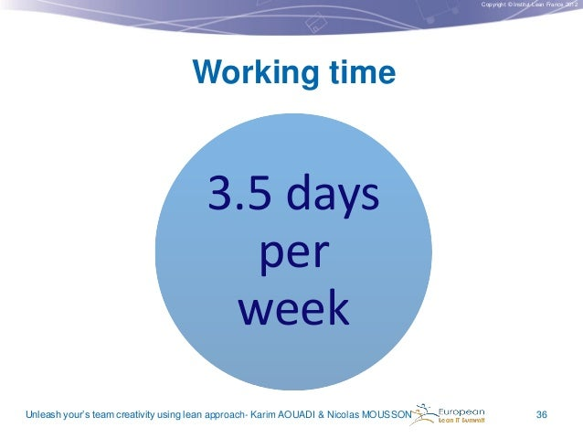 Copyright © Institut Lean France 2012  Working time  3.5 days per week Unleash your's team creativity using lean approach-...