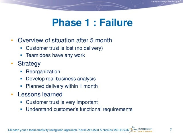 Copyright © Institut Lean France 2012  Phase 1 : Failure • Overview of situation after 5 month  Customer trust is lost (n...