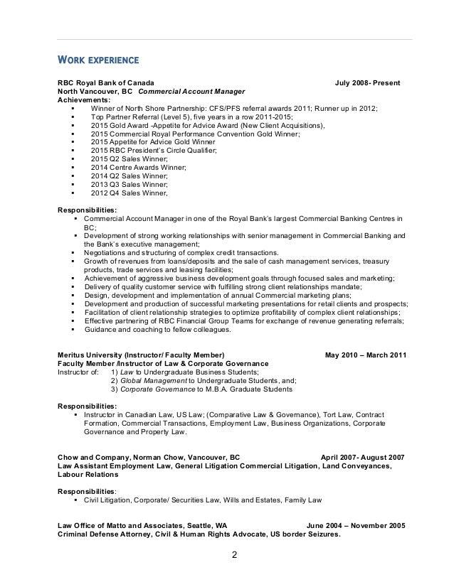banker responsibilities resume