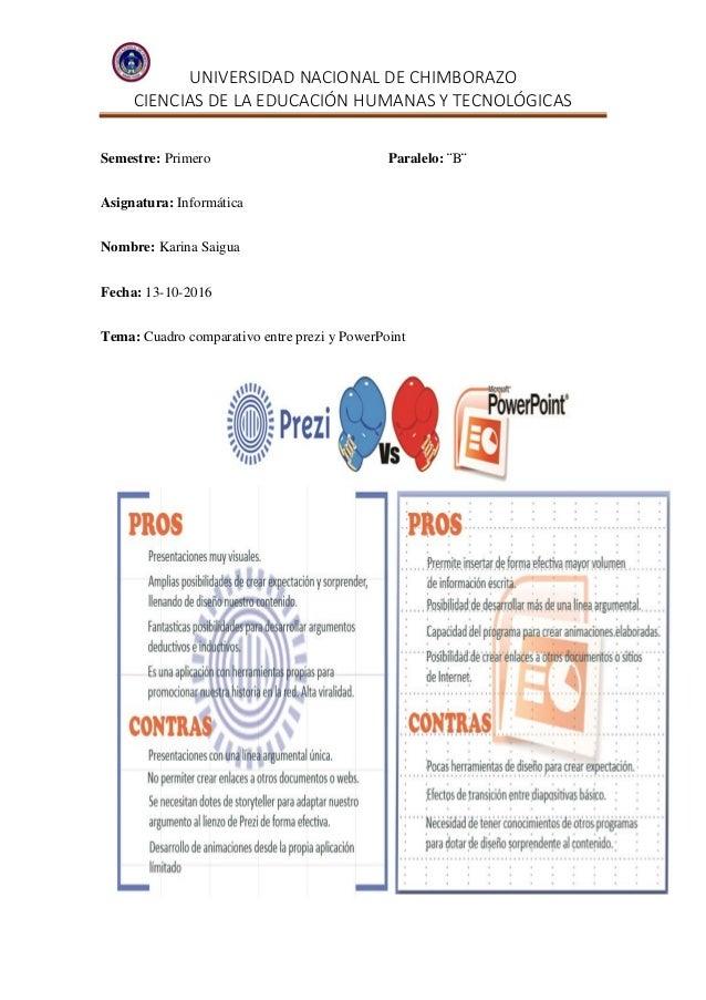 UNIVERSIDAD NACIONAL DE CHIMBORAZO CIENCIAS DE LA EDUCACIÓN HUMANAS Y TECNOLÓGICAS Semestre: Primero Paralelo: ¨B¨ Asignat...
