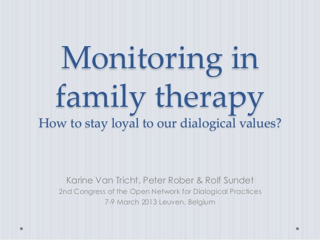 Monitoring in  family therapyHow to stay loyal to our dialogical values?     Karine Van Tricht, Peter Rober & Rolf Sundet ...
